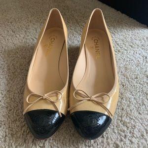 Tan and Black Chanel kitten heel flats